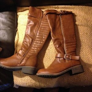Brown pleather boots! Worn once!
